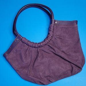 Purple suede shoulder purse